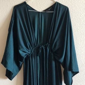 Forest green floor length cape from Akira
